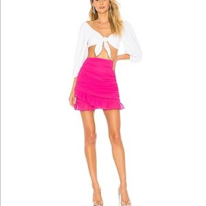 About US Lorraine Ruched Skirt in Hot Pink